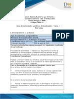 Guia de actividades y Rúbrica de evaluación - Unidad 1 - Tarea 1 - Pre-tarea