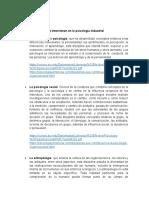 Disciplinas que intervienen en la psicología industrial
