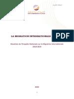 Résultats de l'Enquête Nationale Sur La Migration Internationale 2018-2019, Juillet 2020
