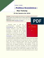 Mao Tsetung - A Nossa Política Económica