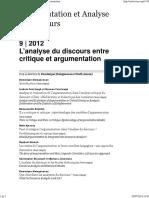 Argumentation et Analyse du discours 9- 2012 - L analyse du discours entre