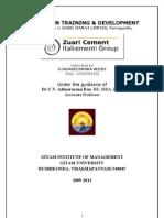ZUARI CEMNTS REPORT ON TRAINING &DEVELOPMENT1