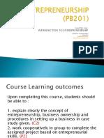 Pb201 Introduction to Entrepreneurship