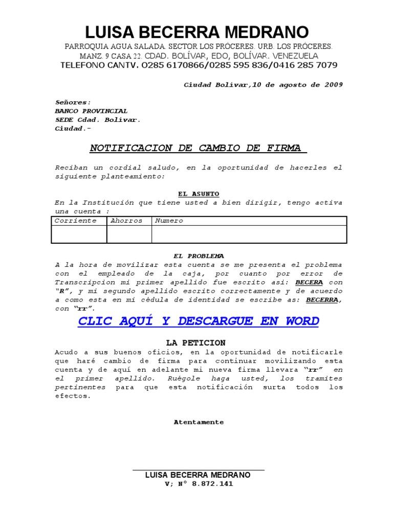 Solicitud de cambio de firma en el banco for Solicitud de chequera banco venezuela