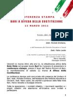 Annuncio Conferenza Stampa - Bari a difesa della Costituzione - 12 marzo