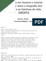 EMENTA-Educação em Museus e Centros Culturais-Nicole Costa