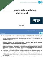 Evolución del salario mínimo,  vital y móvil
