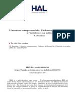 BENREDJEM rédha (2009) « L'intention entrepreneuriale  l'influence des facteurs liés à l'individu et au milieu  18p.» cahier de recherche  2009-21 E4, Unité Mixte de Recherche CNRS  Université Pierre Mendès France Grenoble 2