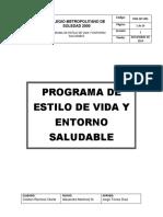 Prg-sst-001 Programa de Estilo de Vida y Entorno Saludable