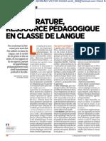 Article La Littérature en Classe de FLE