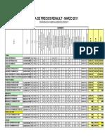 Lista de Precios Renault Marzo 2011