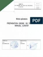 M MP 13 00 Preparation Ordre de travail manuel Curafif
