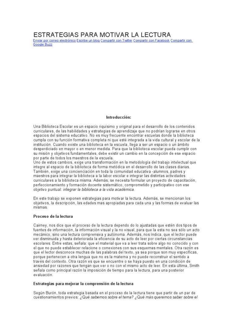 Estrategias Para Motivar La Lectura Libros Cuba