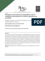 Estrategias de permanencia y desigualdad social en Cba.