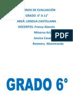 Criterios de Evaluación Por Grados. Lengua Castellana. Plataforma