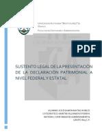 Sustento Legal de La Presentación de La Declaración Patrimonial a Nivel Federal y Estatal