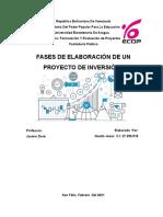 Fase de elaboración de un proyecto de inversión (informe)