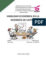 Ensayo Viabilidad Económica en la inversión de capital