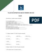 Taller de Matemáticas Mes de Febrero Año 2021