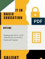 Data Privacy in Basic Education