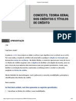 CONCEITO, TEORIA GERAL DOS CRÉDITOS E TÍTULOS DE CRÉDITO