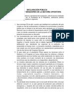 Declaracion Pública Senadores Oposición 26 abril
