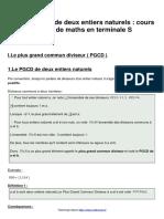 Pgcd de Deux Entiers Naturels Cours de Maths en Terminale s