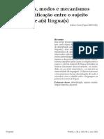 Payer - Processos, modos e mecanismos  da identificação entre o sujeito e a(s) língua(s)