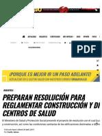 Preparan resolución para reglamentar construcción de clínicas y hospitales
