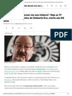 17 frases mais marcantes de Umberto Eco