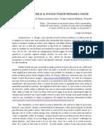 Rolul Prelecturii Și Al Postlecturii În Predarea Online