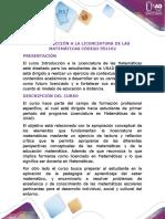 Presentacion del curso introducción a la licenciatura en matemáticas