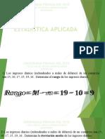 4° Clase - Medidas de Variabilidad - Datos simple y agrupados