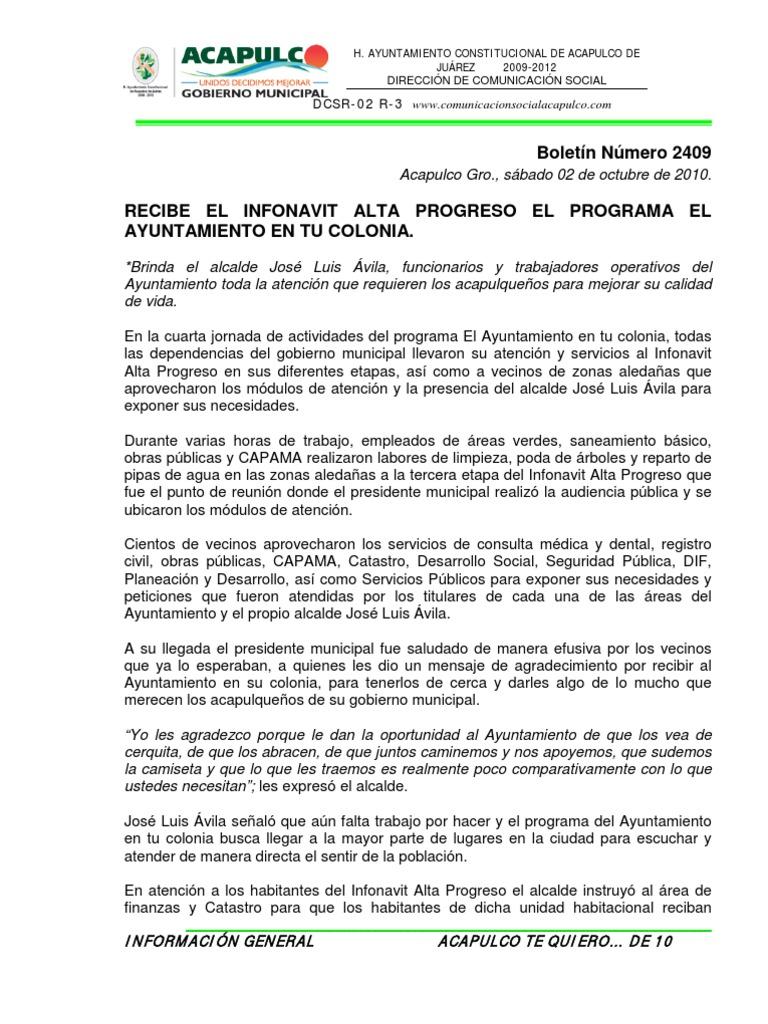 Boletines Octubre 2010 6 Alcalde Gobierno Local