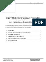 Cours de Matériaux de Construction - 2e Année LMD Génie Civil 1 - Chapitre 1 - Généralités