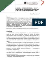 A Percepção de Belo Horizonte Sobre o 'Apoio' Institucional Do Governo Central Brasileiro Aos Entes Federativos Em Suas Atuações Internacionais