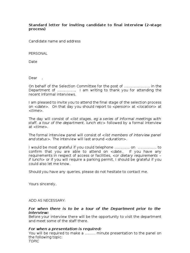 Sample Invitation Letter Interview.  LETTER Final interview invite