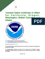 Tsunami watch continues in effect for California, Oregon, Washington, British Columbia and Alaska