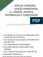Apresentação de comissão, representação, agência, distribuição ee corretagem