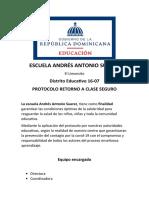 Plan de Acción Del Centro Para El Regreso a Clase Seguro Escuala Andres Ant. Suarez