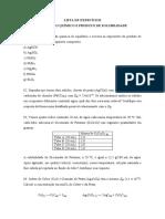 Lista de exercícios - Equilíbrio químico e Solubilidade
