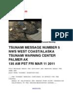 TSUNAMI WARNING # 5 CENTER PALMER AK 135 AM PST FRI MAR 11 2011