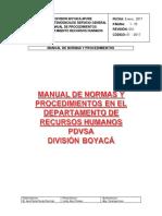 Manual de Normas y Procedimientos RRHH PDVSA División Boyacá