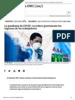 La pandemia de COVID-19 reduce gravemente los ingresos de los trabajadores _ Noticias ONU