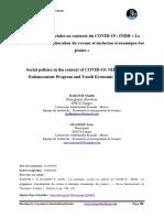 20. Les Politiques Sociales en Contexte Du COVID-19 INDH Le Programme d'Amélioration Du Revenu Et Inclusion Économique Des Jeunes