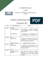 Seminaire Mathematique Bejaia 2011