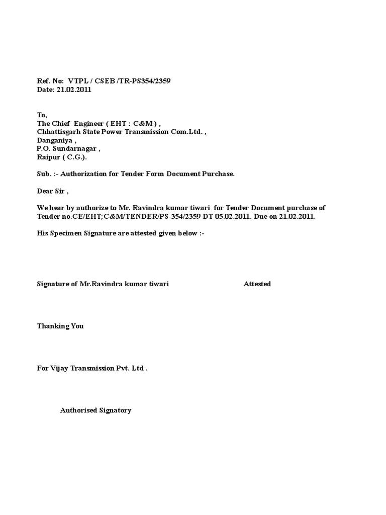 Letter For Collection Tender Form