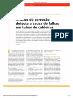 Análise de Corrosão Detecta a Causa de Falhas em Tubos de Caldeiras