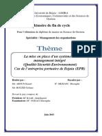 La mise en place d'un système de management intégré (Qualité-Sécurité-Environnement)