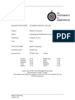 Sample of Mobile Computing Exam (June 2006) - UK University BSc Final Year